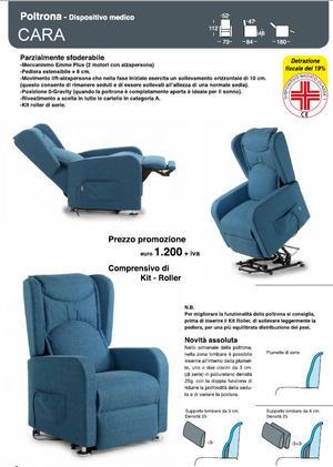 Poltrona Relax Cara Pediera Estensibile Alzata Verticale cm 10 Kit Roller 2 Motori  Posizione Letto