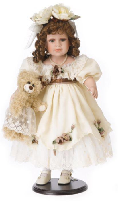 Bambola da Collezione in Porcellana Capelli con i Boccoli Orsetto in Peluche e Vestito Chiaro RF Collection qualità Made in Germany