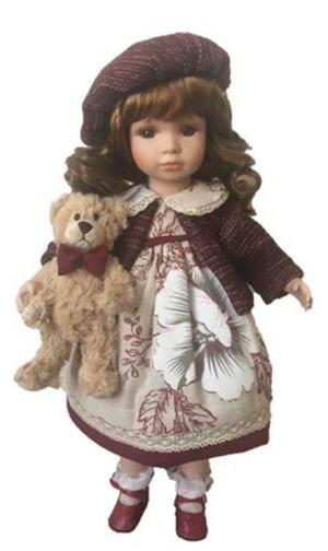 Bambola da Collezione in Porcellana con Vestito a Grossi Fiori e Orso in Peluche RF Collection Qualità Made in Germany