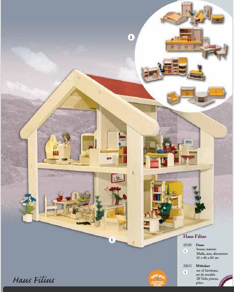 """Casa delle Bambole in Legno """"Filius"""" di Rulke Holzspielzeug Completa di Mobili 28 Pezzi"""