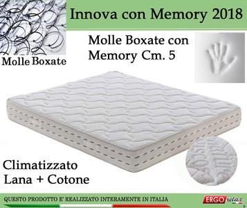 Materasso a Molle Bonnel Mod. Innova con Memory 2018 Climatizzato da Cm 85x190/195/200 Altezza Cm 22 - Ergorelax