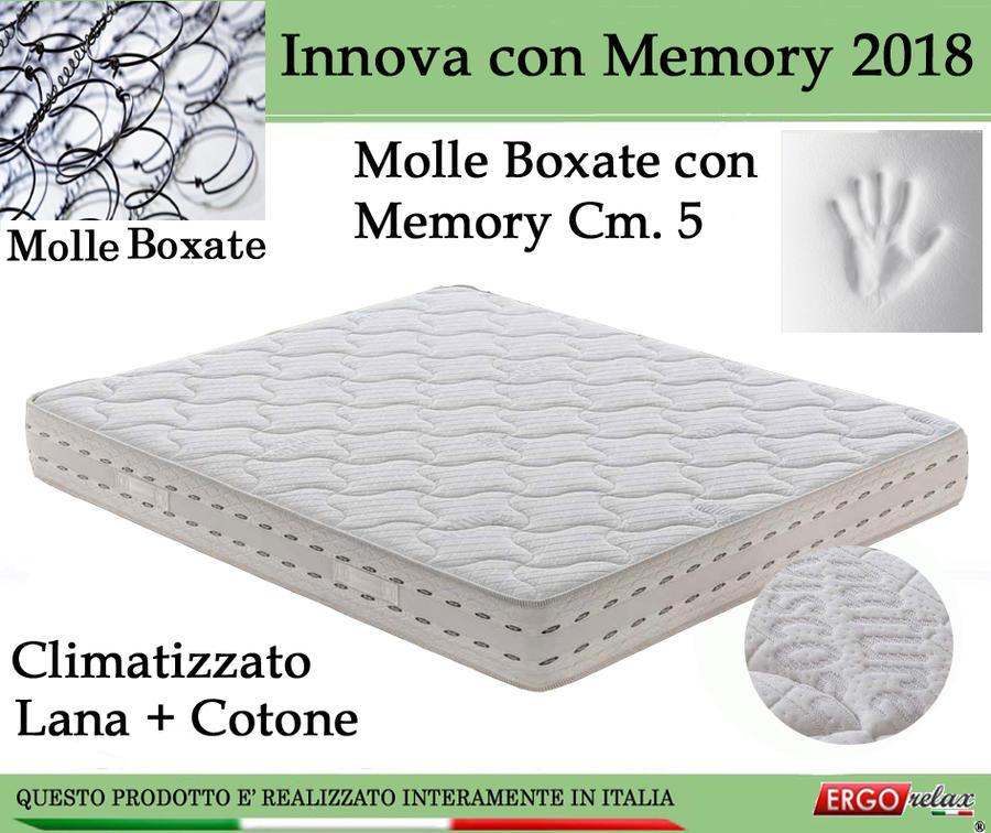 Materasso a Molle Bonnel Mod. Innova con Memory 2018 Climatizzato Matrimoniale da Cm 160x190/195/200 Altezza Cm 22 - Ergorelax