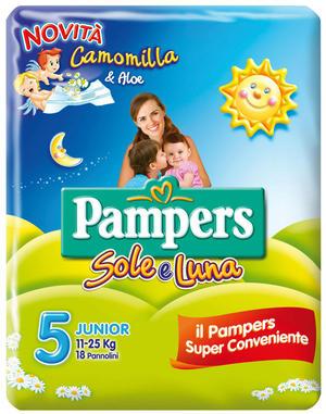 Pampers SOLE & LUNA Taglia JUNIOR (11-25 kg) - 96 pannolini Camomilla e Aloe