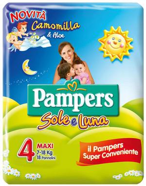 Pampers SOLE & LUNA Taglia MAXI (7-18 kg) - 108 pannolini Camomilla e Aloe