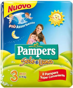 Pampers SOLE & LUNA Taglia MIDI (4-9 kg) - 100 pannolini Camomilla e Aloe
