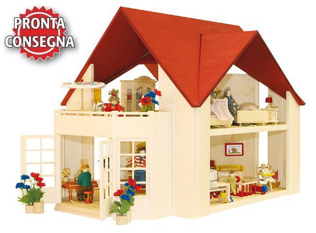"""Casa delle Bambole in Legno """"Singola Solitair"""" completa di Balcone Giardino D'Inverno di Rulke Holzspielzeug"""
