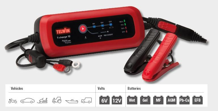 CARICABATTERIE Telwin a tampone INTELLIGENTE T-CHARGE 12 tensione 12V - TELWIN