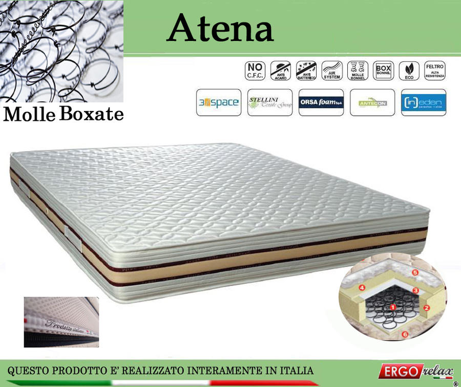 Materasso a Molle Boxate Mod. Atena da Cm 150x190/195/200 Fodera Cotone Fascia TreD Altezza Cm. 24 - Ergorelax