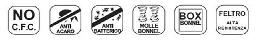 Materasso a Molle Bonnell Mod. Export Singolo da Cm 80x190x195/200 Fodera Damascata Altezza Cm. 20 - Ergorelax