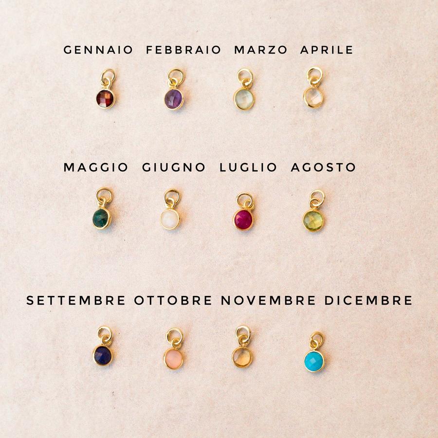 """COLLANA GIROCOLLO IN GOLD-FILLED CON CIONDOLI """"PIETRA DI NASCITA"""" [+ colori]"""