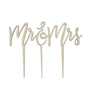 "Cake topper legno ""Mr &Mrs"""