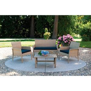 Set Divanetti da giardino POETTO SET92 divano + 2 poltrone + tavolino + cuscino rattan sitetico paglia