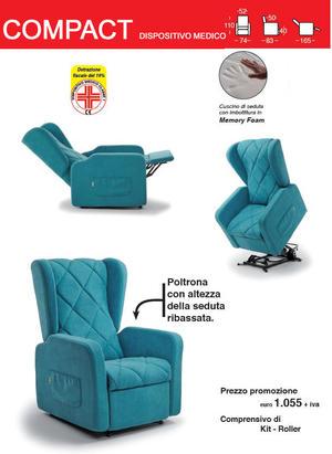 Poltrona Relax Compact con Seduta Ribassata completa di Alzapersona Kit Roller 2 Motori PREZZO IVA AGEVOLATA 4% Prodotto Italiano