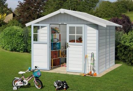 Casetta da giardino capanno attrezzi in PVC DECO 5 Grosfillex misura 242 x 202