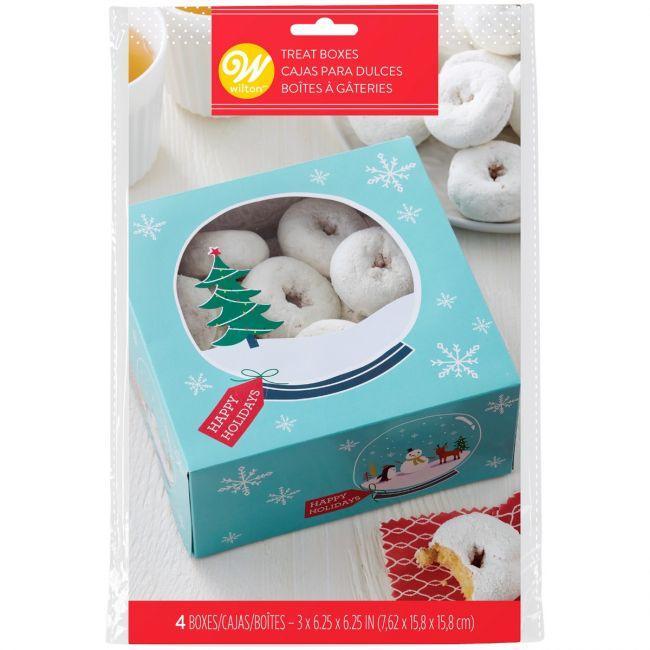 Set 3 scatole  per dolcetti natalizi decoro neve