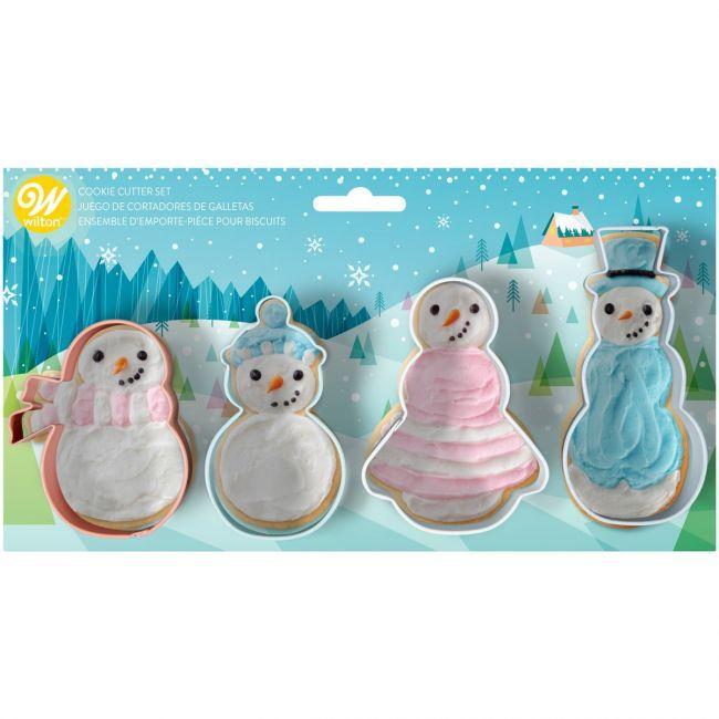Set 4 stampi per biscotti natalizi  pupazzi neve Wilton