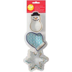 Set 3 stampi per biscotti natalizi  pupazzo neve, fiocco e guanto Wilton