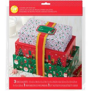 Set 3 scatole  per dolcetti natalizi con nastro