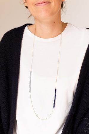 Collana sottile con pietre bicolore [+ colori]