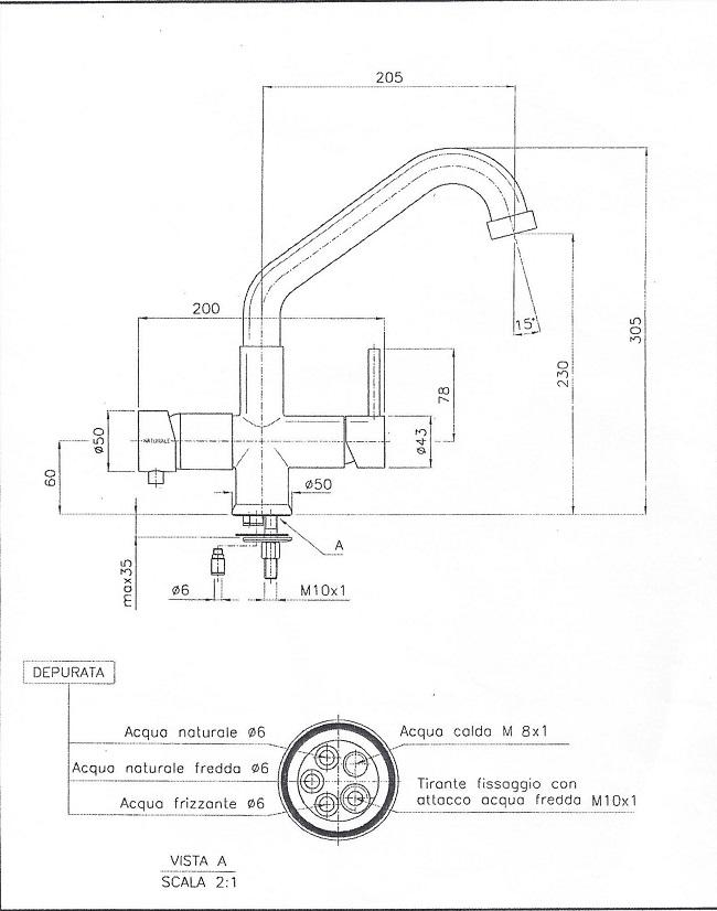 Miscelatore 5 vie Elios Nickel per acqua fredda,frizzante,ambiente più l'acqua calda e fredda dell'impianto di casa.