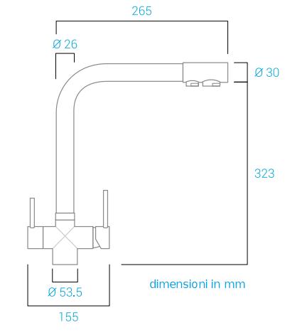 Miscelatore 5 vie Elios Nero Opaco canna alta per acqua fredda,frizzante,ambiente più l'acqua calda e fredda dell'impianto di casa.