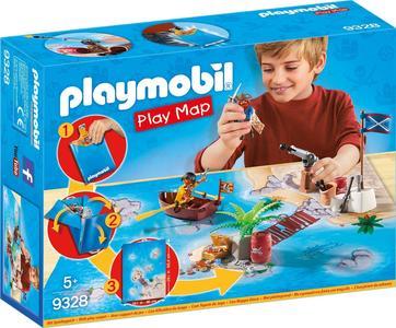 Playmobil 9328 Tesoro dei Pirati Gioco Con Barca e Cannone Spara e Galleggia