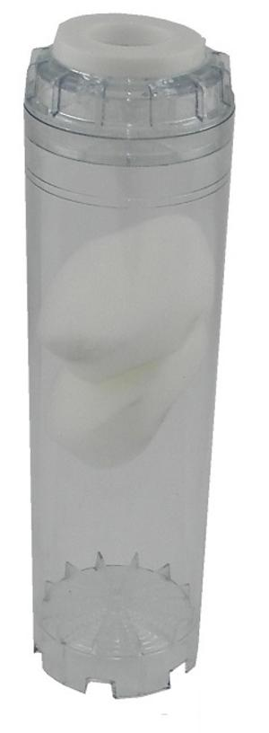 Cartuccia vuota trasparente 10 pollici da riempire con sali o resine.