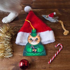 Palla di Natale gatto con bastoncino di zucchero