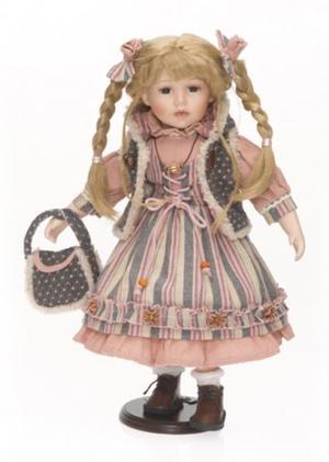 Bambola da Collezione in Porcellana con Gilet in Pelliccia e Trecce Bionde RF Collection Qualità Made in Germany