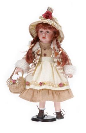 Bambola da Collezione in Porcellana Cappellino con Fiore e capelli Rossi RF Collection Qualità Made in Germany