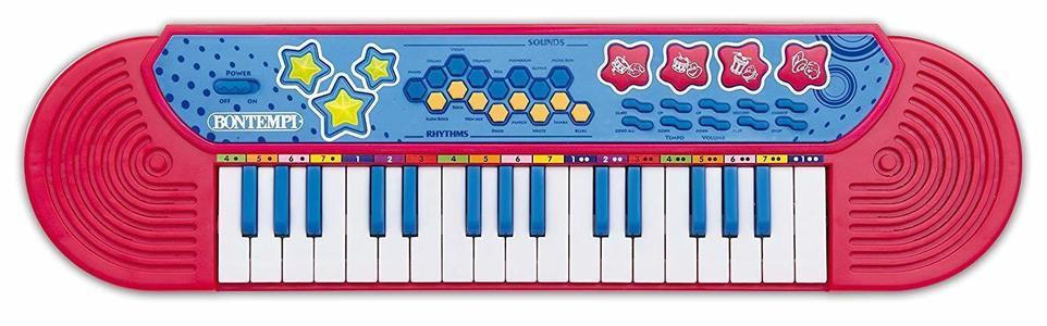 Bontempi 12 3080 Tastiera 32 Tasti Pianola Rossa Suoni Ritmi Brani Gioco Bambino