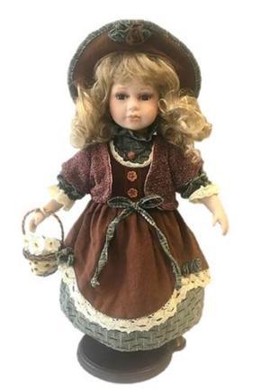 Bambola da Collezione in Porcellana con Cappellino e Cestino RF Collection Qualità Made in Germany
