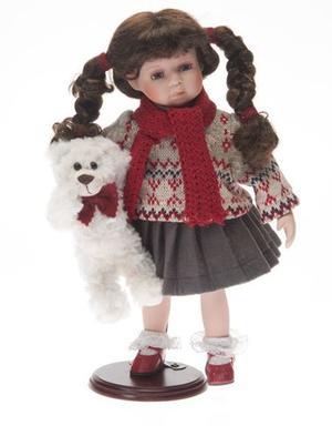 Bambola da Collezione in Porcellana con Maglione Sciarpa e Orsetto Bianco RF Collection Qualità Made in Germany