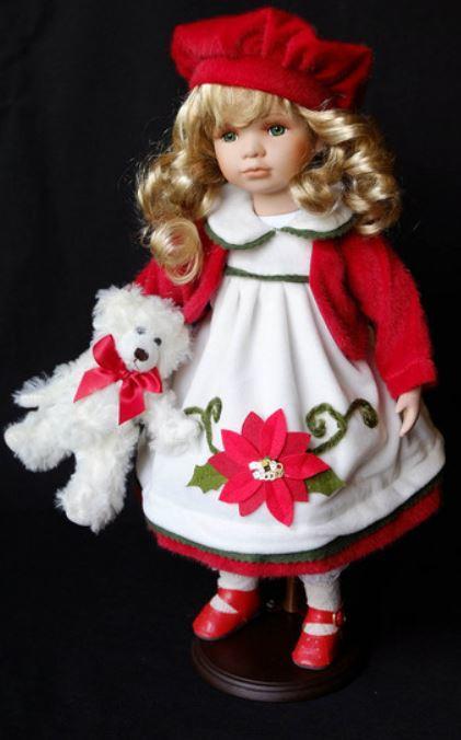 Bambola da Collezione in Porcellana con Vestito bianco e Fiore con Orsacchiotto RF Collection Qualità Made in Germany