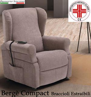 Poltrona Relax Bergè Compact con Braccioli Estraibili completa di Alzapersona, Kit Roller 2 Motori e Alzata Verticale di 10 CM Ampia scelta di Tessuti