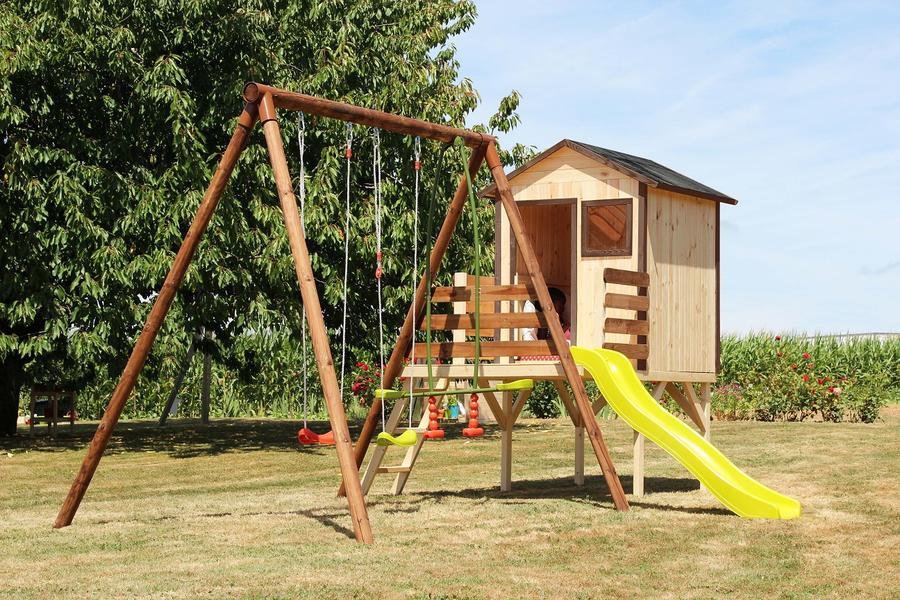 Area giochi giardino SIOUX 1 altalena + 1 cavalluccio + 1 dondolo + 1 scivolo + fune  + terrazzino cod.AGL1367