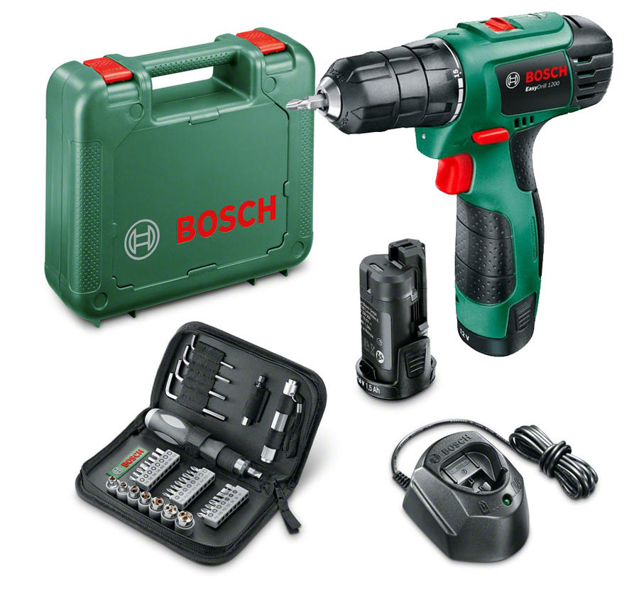Trapano Avvitatore a batteria litio PSR Easy Drill 1200 12 Volt 2 batterie + Set accessori 38 pezzi 06039A210E BOSCH