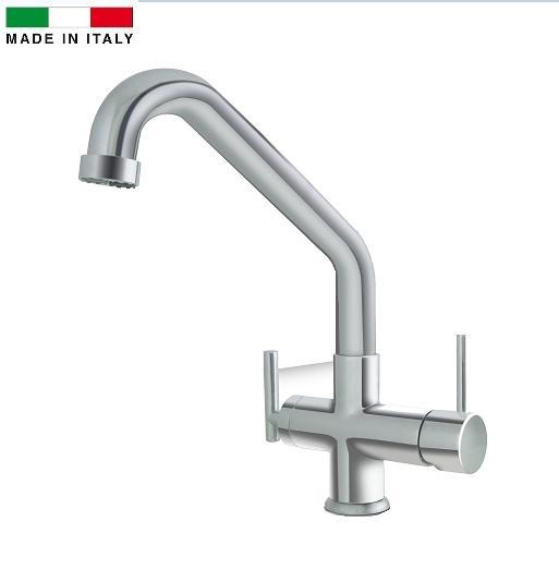 Miscelatore 4 vie Elios Nickel per acqua fredda e frizzante più l'acqua calda e fredda dell'impianto di casa con varianti di colore.