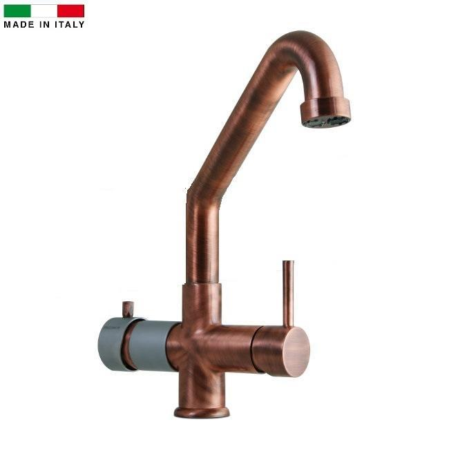 Miscelatore 5 vie Elios Rame per acqua fredda,frizzante,ambiente più l'acqua calda e fredda dell'impianto di casa.