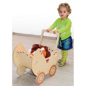 Carrozzina Natura per Bambole in Legno Naturale per Bambini di Dida