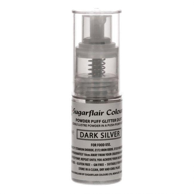 Spray glitter argento scuro Sugarflair 10 gr