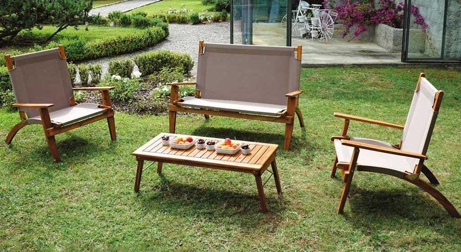 Set salottino da giardino in acacia oliata set valladolid for Sabbia da giardino