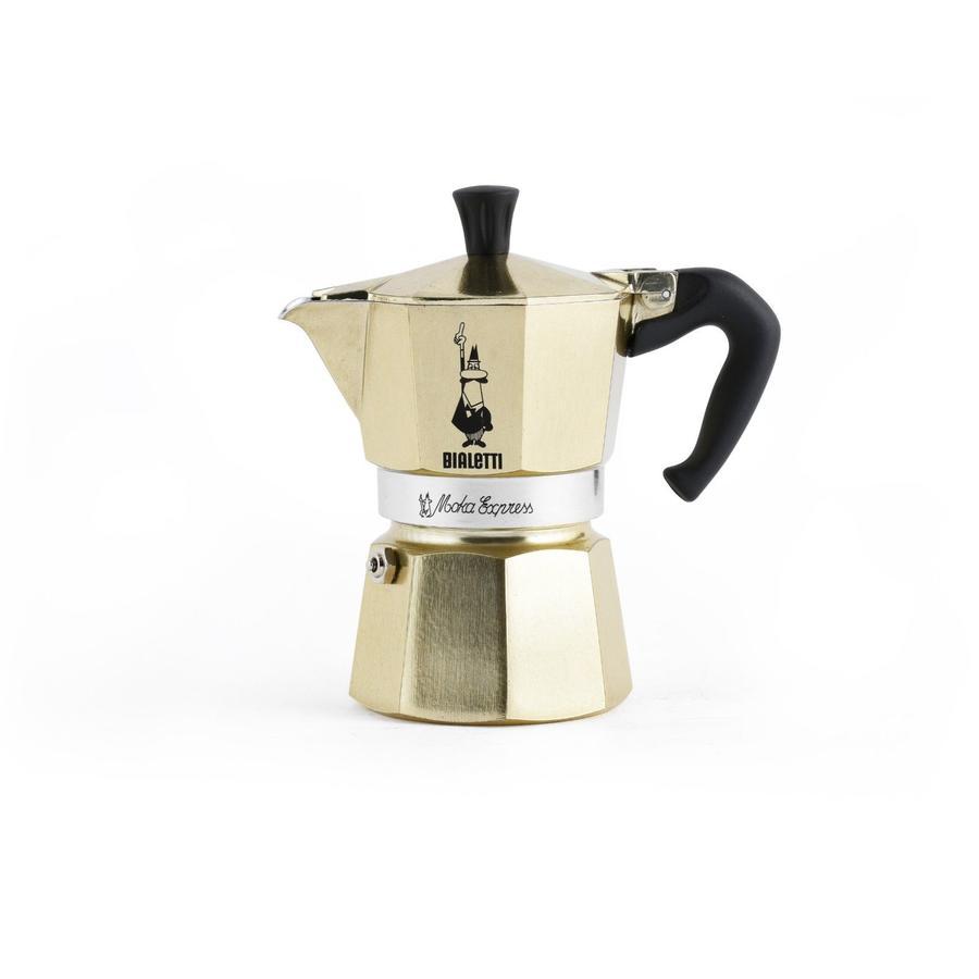 """Caffettiera espresso BIALETTI ORO 3 TAZZE DORATA coffee maker """"Moka Express"""" 3 tz limited edition oro"""