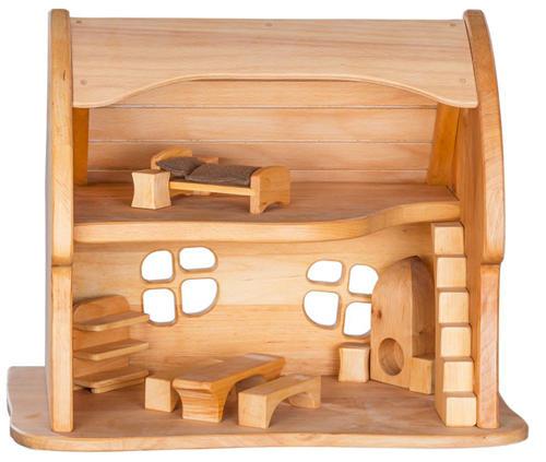 Casa delle bambole Favola in Legno Massello di Pino Tetto Curvo di Verneuer