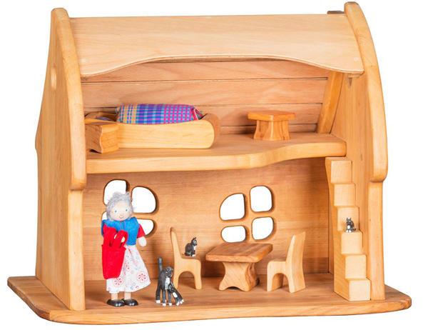 Casa delle bambole Favola in Legno Massello di Pino Tetto Curvo Completa di Mobili in Massello di Verneuer