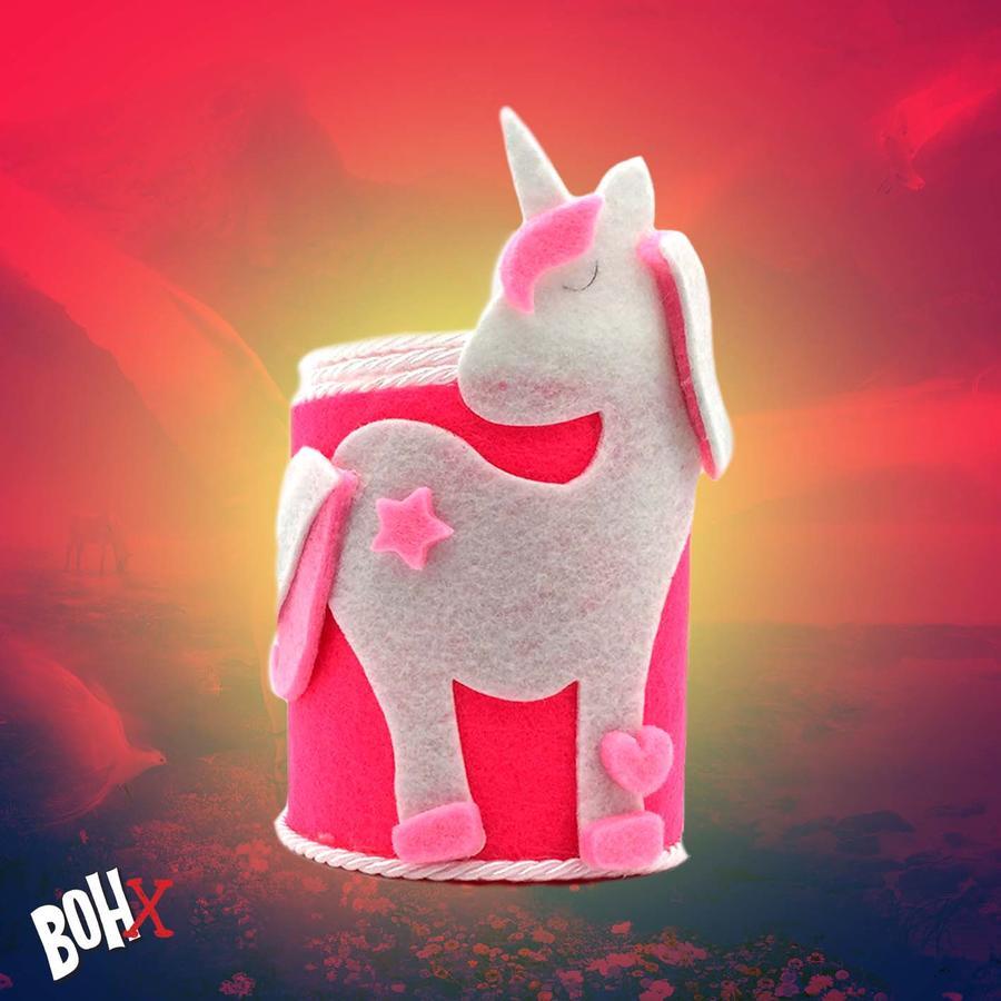 Portapenne in tessuto con unicorno