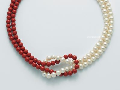 pcl5179 Girocollo con Corallo Rosso e Perle Miluna -