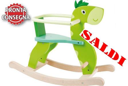 """Dinosauro a Dondolo in Legno Naturale verniciato """"Dino"""" per Bambini della Legler Saldo"""