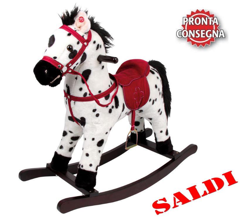 Cavallino a Dondolo Bianco e Nero in Legno e Tessuto di Legler Saldi