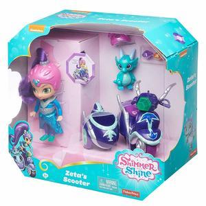 fisher Price FHN31 Shimmer & Shine Grande Bambola di Zeta Con Scooter e Nazboo